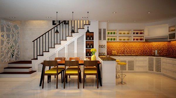 Cách bố trí đèn led âm trần cho phòng bếp ăn.