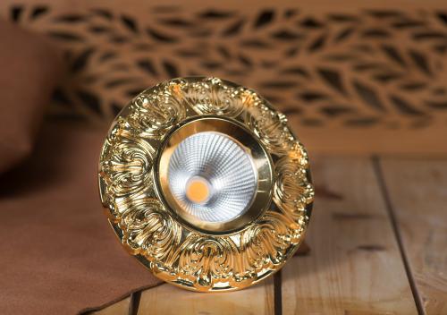 Đèn led âm trần cổ điển mạ vàng 18K