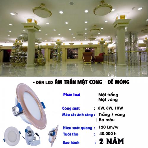 Các loại công suất và kích thước của đèn led âm trần mặt cong đế mỏng TLC