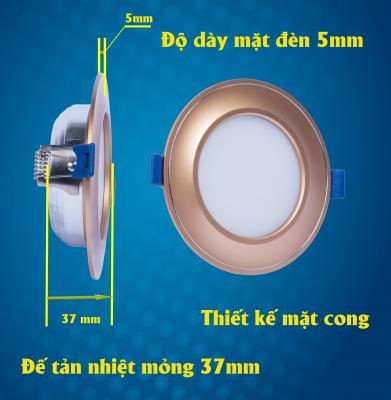 Đèn led âm trần mặt cong đế mỏng có tính năng vượt trội