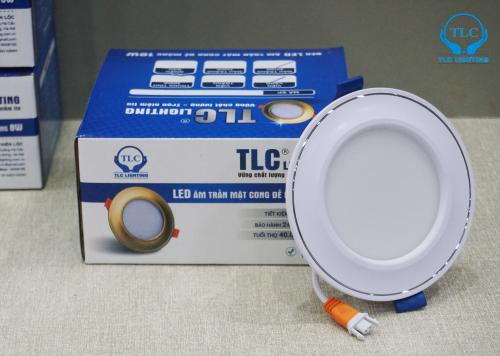 Đèn led downlight âm trần mặt cong đế mỏng 6w viền trắng TLC