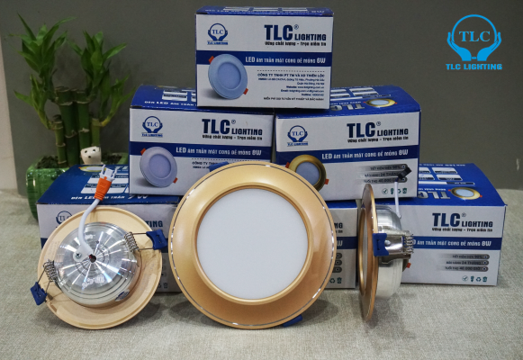 Đèn led âm trần mặt cong đế mỏng TLC viền vàng