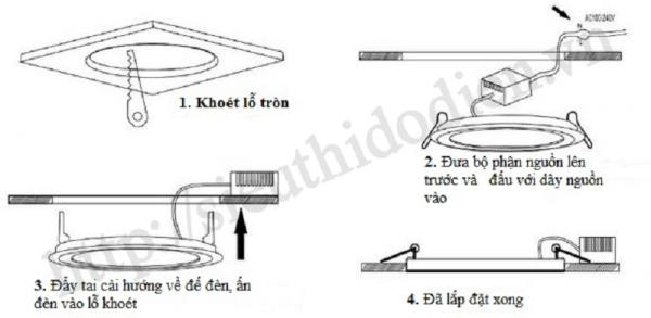 Đèn led âm trần mặt cong đế mỏng lắp đặt như thế nào?