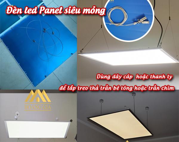 Cách lắp đèn led Panel thả treo dây hoặc treo bằng thanh ty