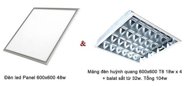 So sánh đèn led Panel 600x600 với máng đèn huỳnh quang 600x600