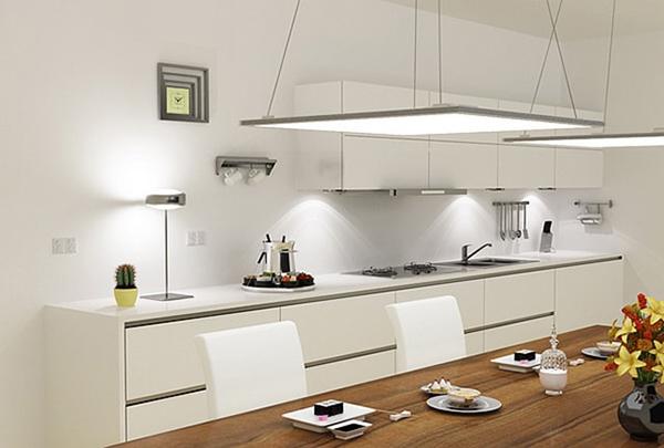 Ứng dụng của đèn led Panel siêu mỏng lắp thả tại khu vực bàn ăn