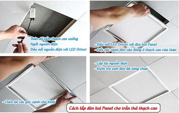 Cách lắp đèn led Panel cho trần thả thạch cao