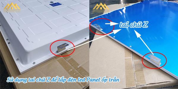 Sử dụng tai chữ Z để lắp đèn led Panel ốp trần
