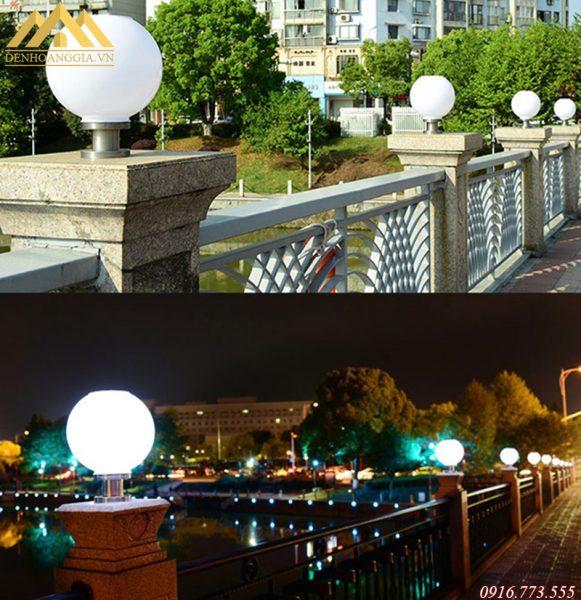 Đèn trụ cổng bằng nhựa thường được thiết kế dạng hình tròn